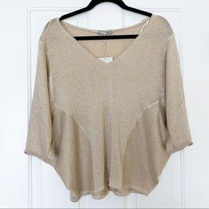 Zara Gold Shimmer Batwing Short Sleeve Blouse